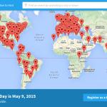 Mapa de eventos Scartch Day en todo el mundo. Scratch Day se celebra en todo el mundo como un día de acercamiento al ámbito de la programación a través de Scratch.
