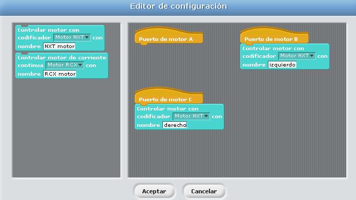 Configuración motores para NXT