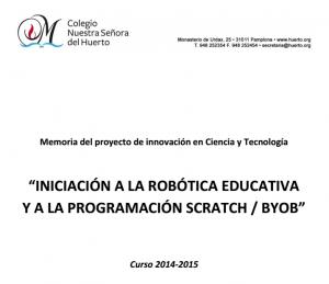 Memoria del proyecto de innovación Colegio Nuestra Señora del Huerto. Curso 2014-15