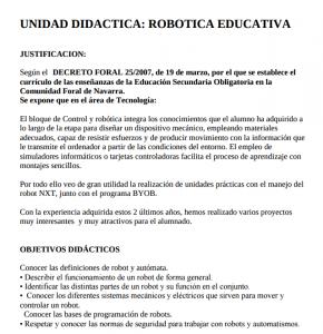 Unidad didáctica Robótica Educativa IESO Roncal