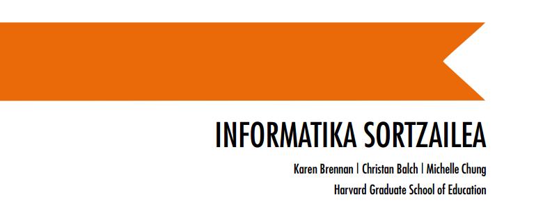 Por tada de la guía Informática Creativa es una traducción de la guía Creative Computing de Scratch elaborada por Programamos por iniciativa del Departamento de Educación de Gobierno de Navarra