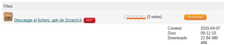 """Categoría """"Scratch Jr"""" del apartado """"Descargar Docs."""" del portal Disanedu"""