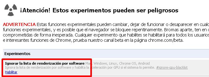 Ignorar la lista de renderización por software deshabilitado