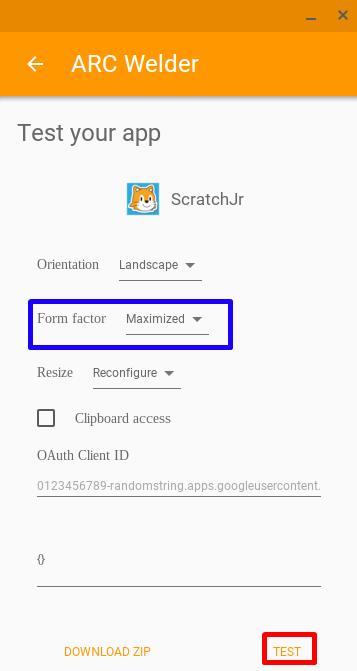 Configuración de ARC Welder para Scratch Jr