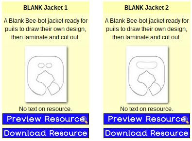 Plantillas de disfraces para Bee-Bots en PrimaryTreasureChest.com