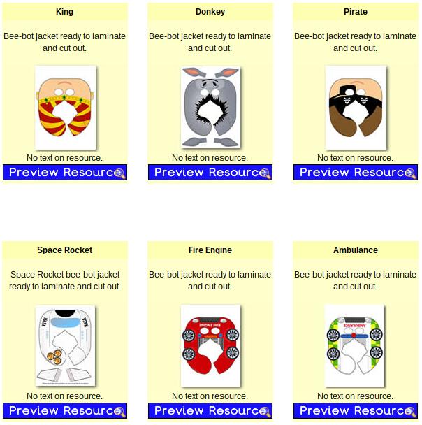 Disfraces para Bee-Bots en PrimaryTreasureChest.com