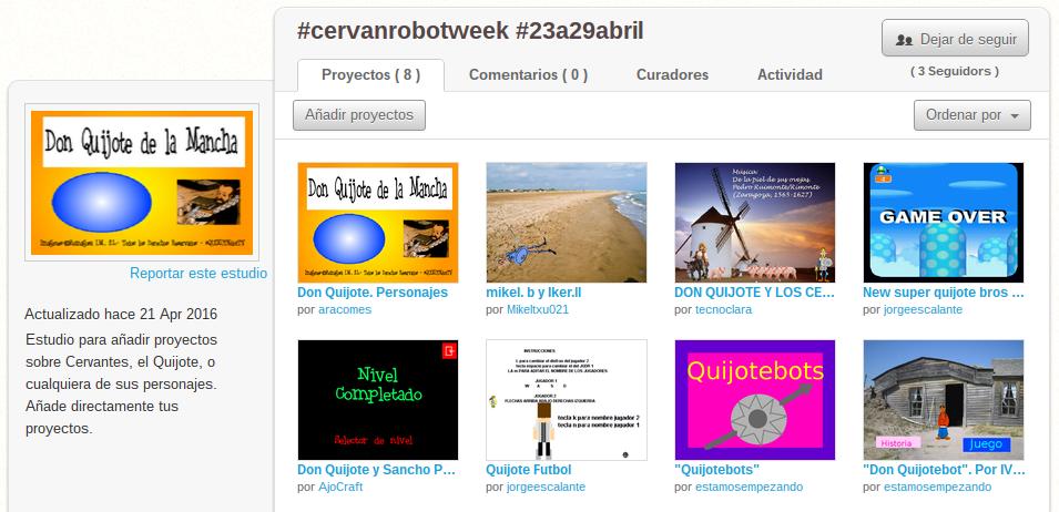 Iniciativa para celebrar el Día Mundial del Libro y el aniversario de Cervantes con un proyecto de Scratch