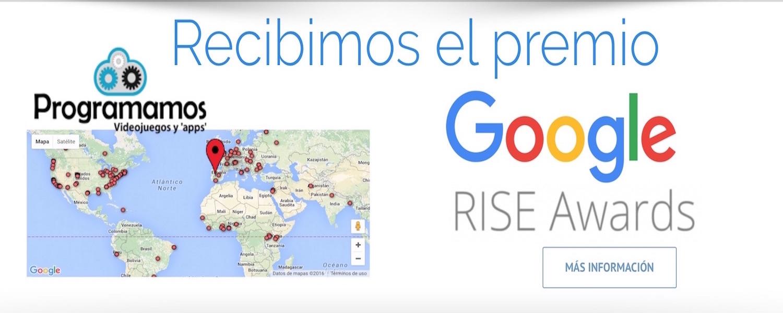 Los premios Google Rise Awards 2016 reconocen el trabajo de Programamos. Imagen del blog de Programamos