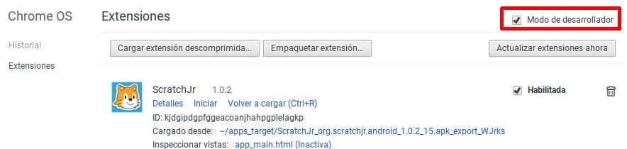 Activación del modo desarrollador en las extensiones de Chrome