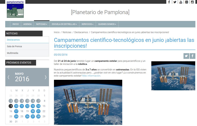 Talleres en mayo y junio. Planetario de Pamplona