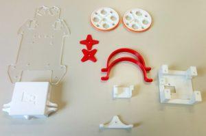 Piezas de la estructura impresas en 3D en PLA