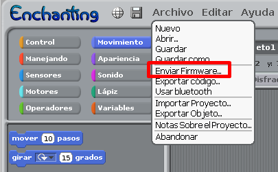 instalar el firmware compatible con Enchanting