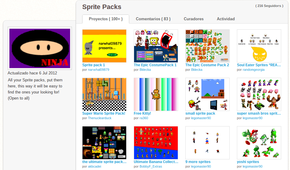 "Estudio ""Sprite Packs"" con miles de objetos"