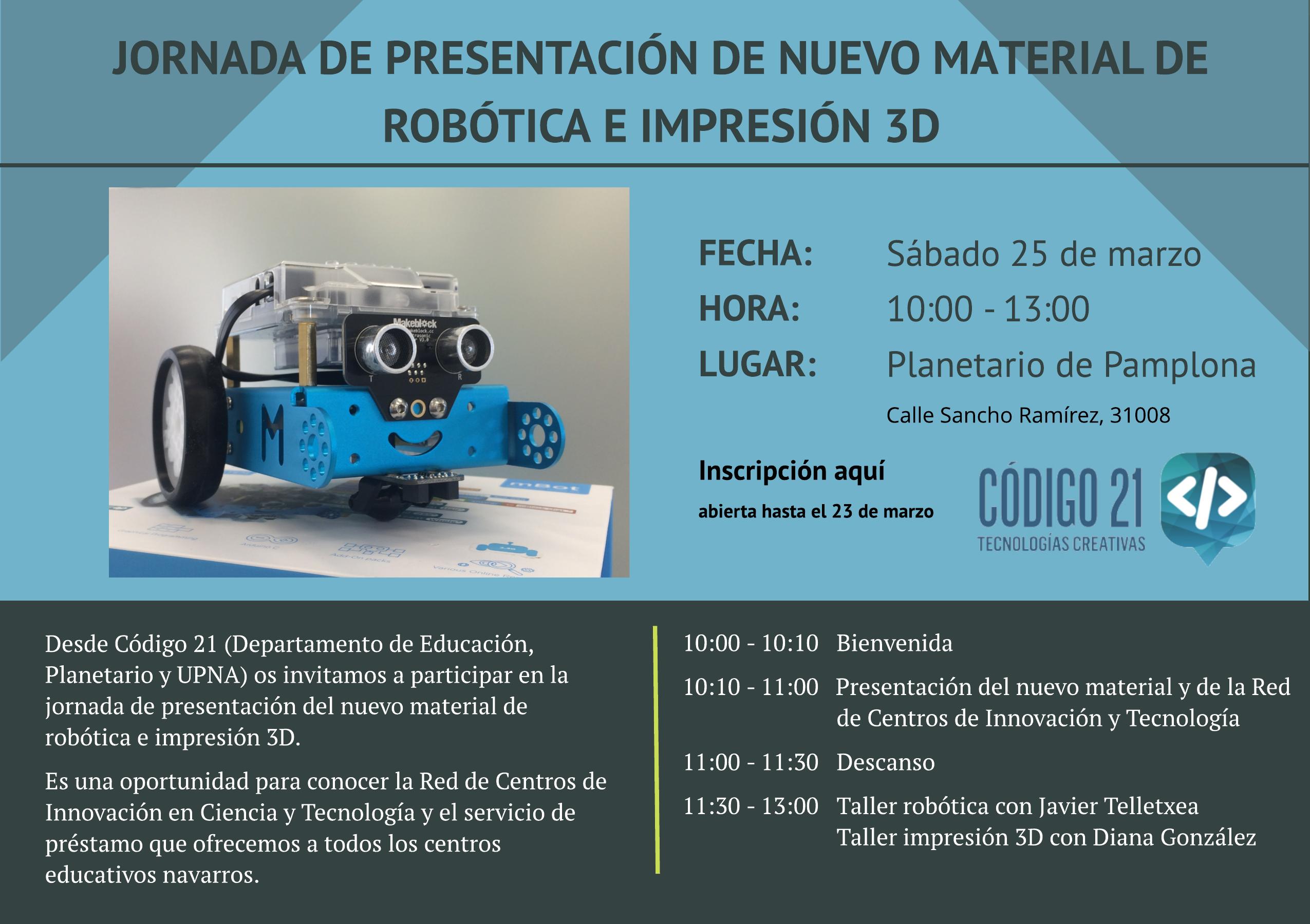 Invitación jornada presentación materiales robótica educativa e impresión 3D