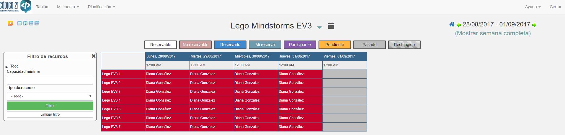 Captura de pantalla de la aplicación de reservas
