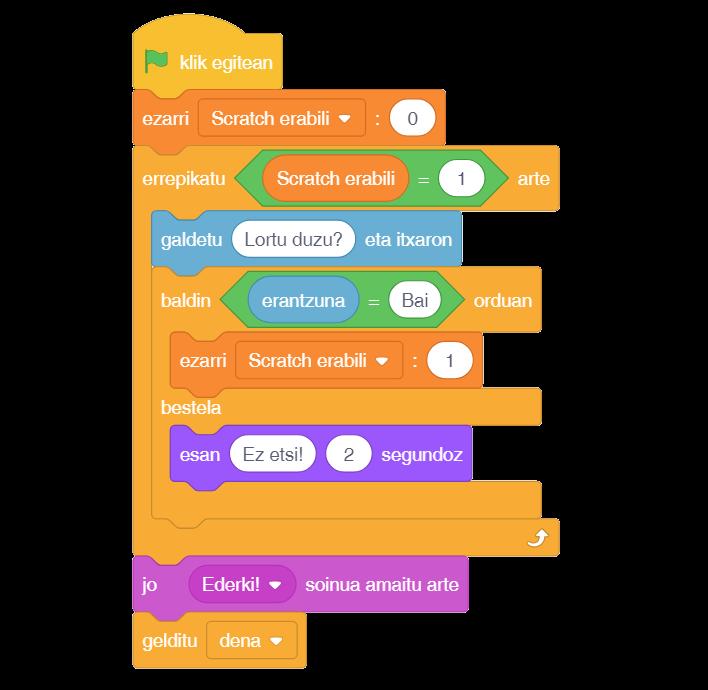 Scratch 3.0-rekin idatzitako kode baten adibidea